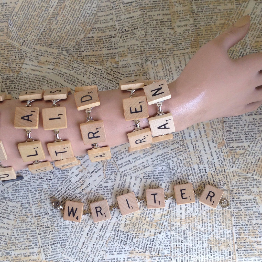 scrabble tile bracelet: writer