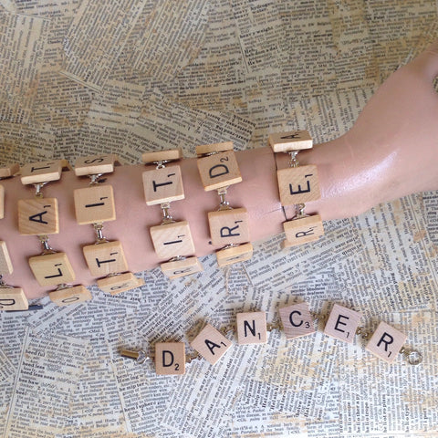 scrabble tile bracelet: dancer