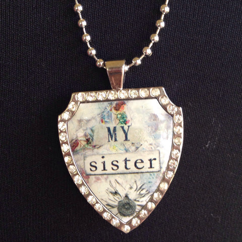 my sister charm with necklace