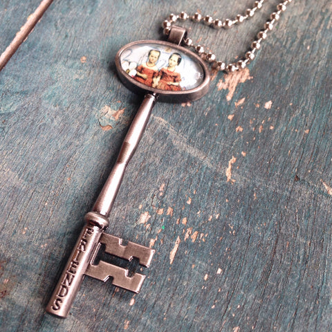 friends key charm with necklace