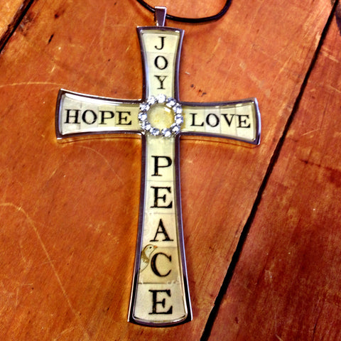 joy, hope, love and peace cross necklace