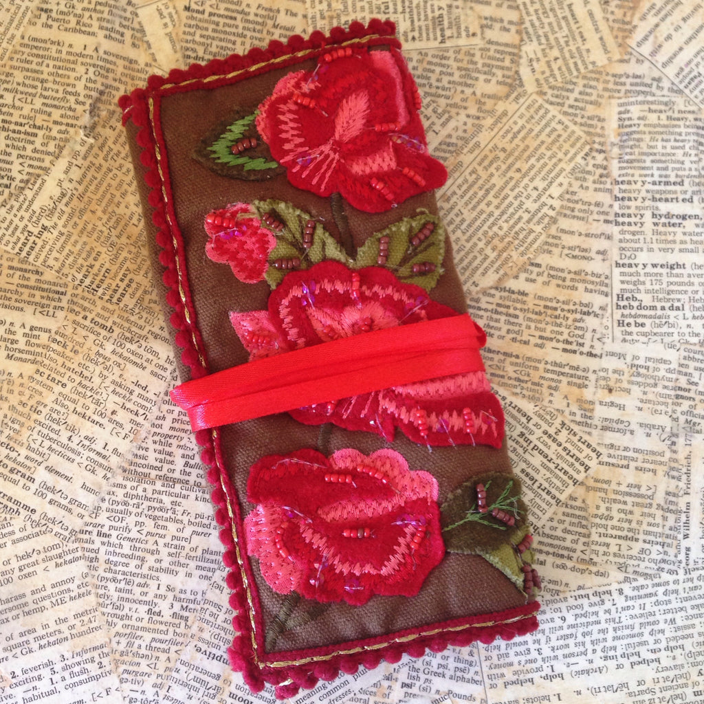 embroidered rose jewelry roll