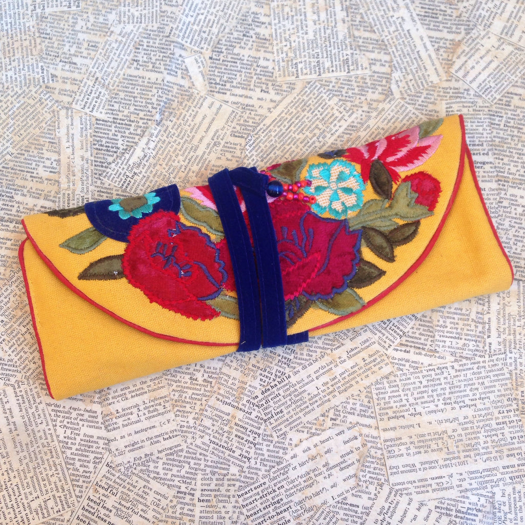 embroidered floral yellow jewelry roll