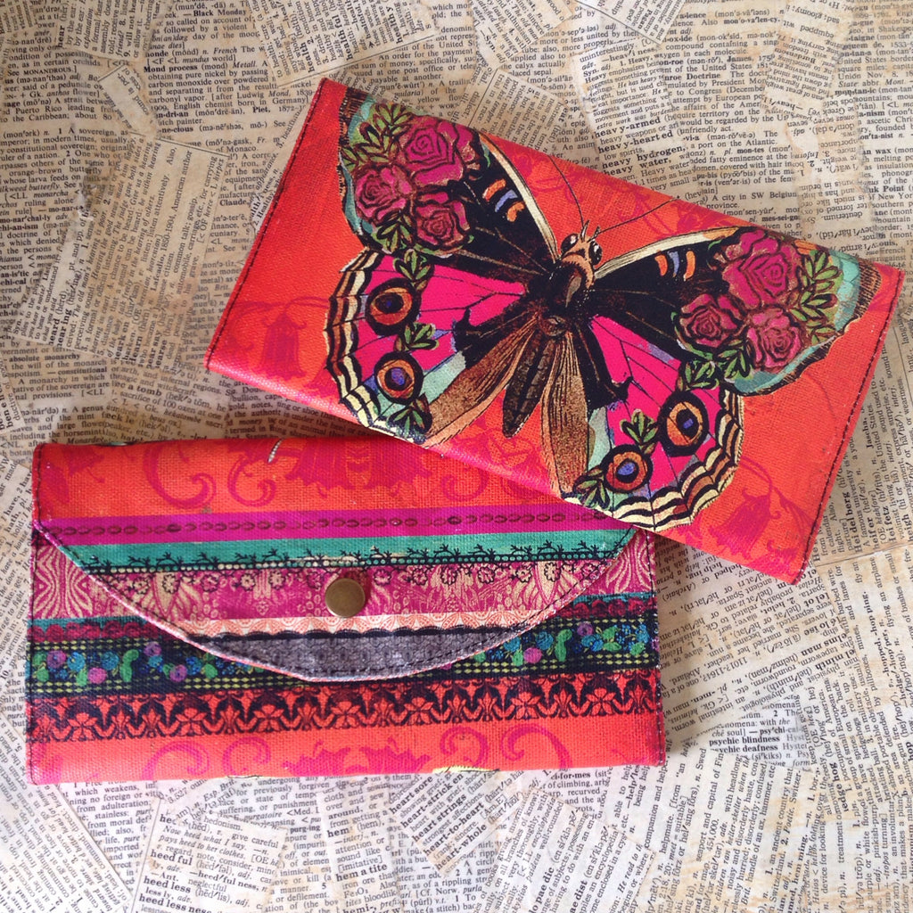 butterfly painted canvas wallet