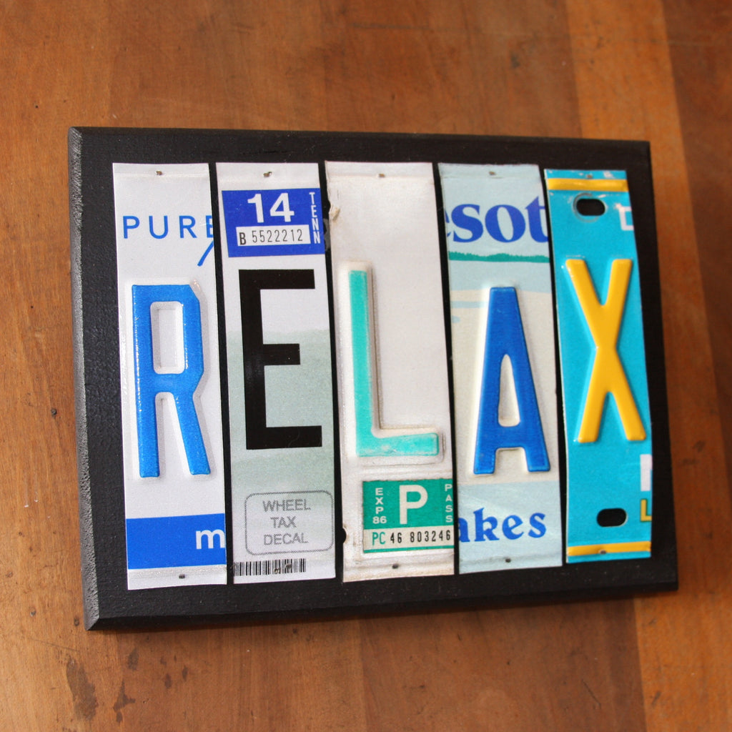 relax license plate art