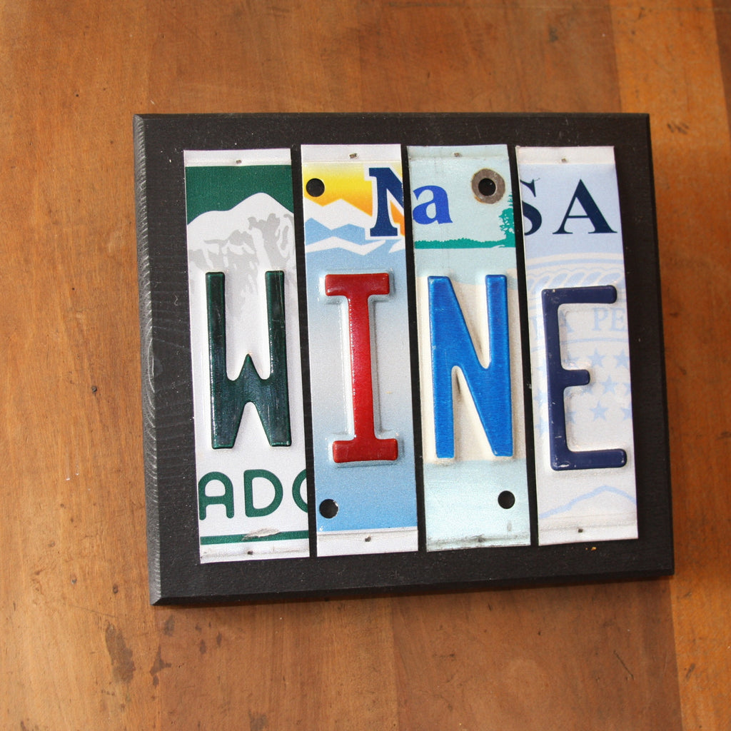 wine license plate art