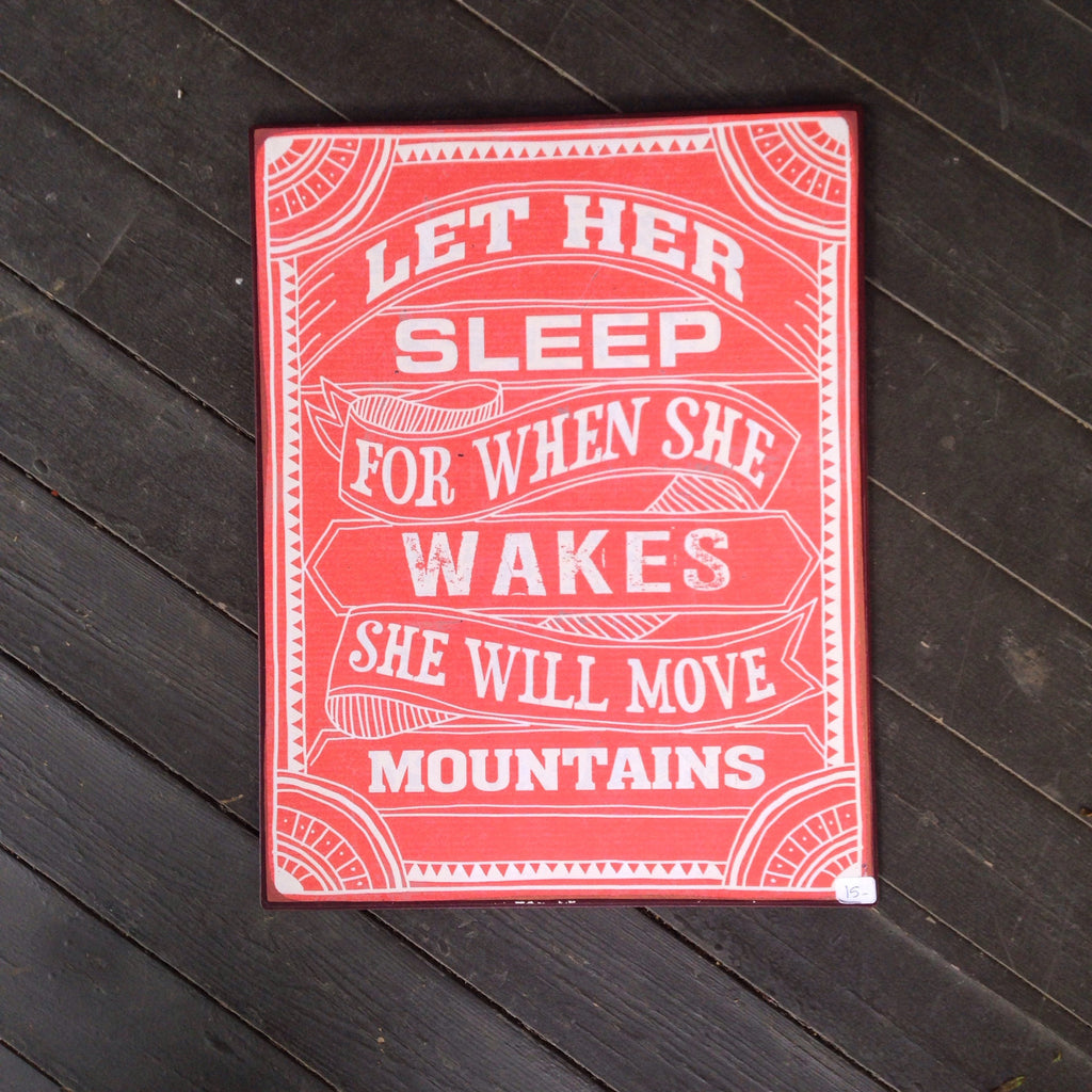 let her sleep tin sign