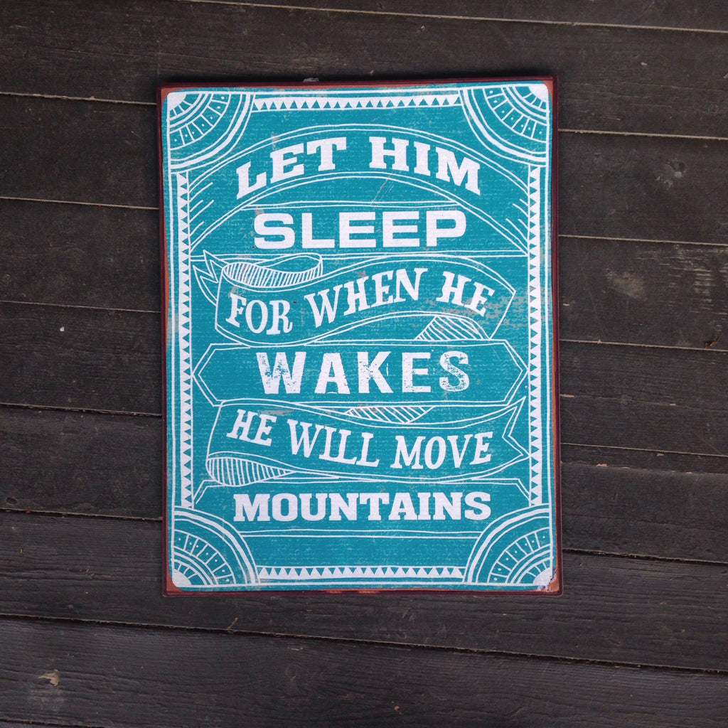 let him sleep tin sign