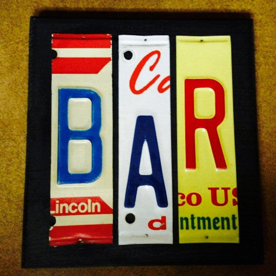 BAR license plate sign