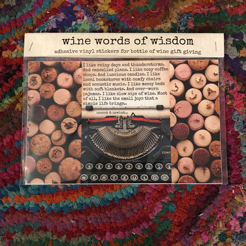 """wine words of wisdom"" wine labels"