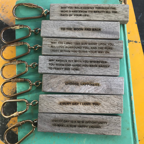 wood quote keychain