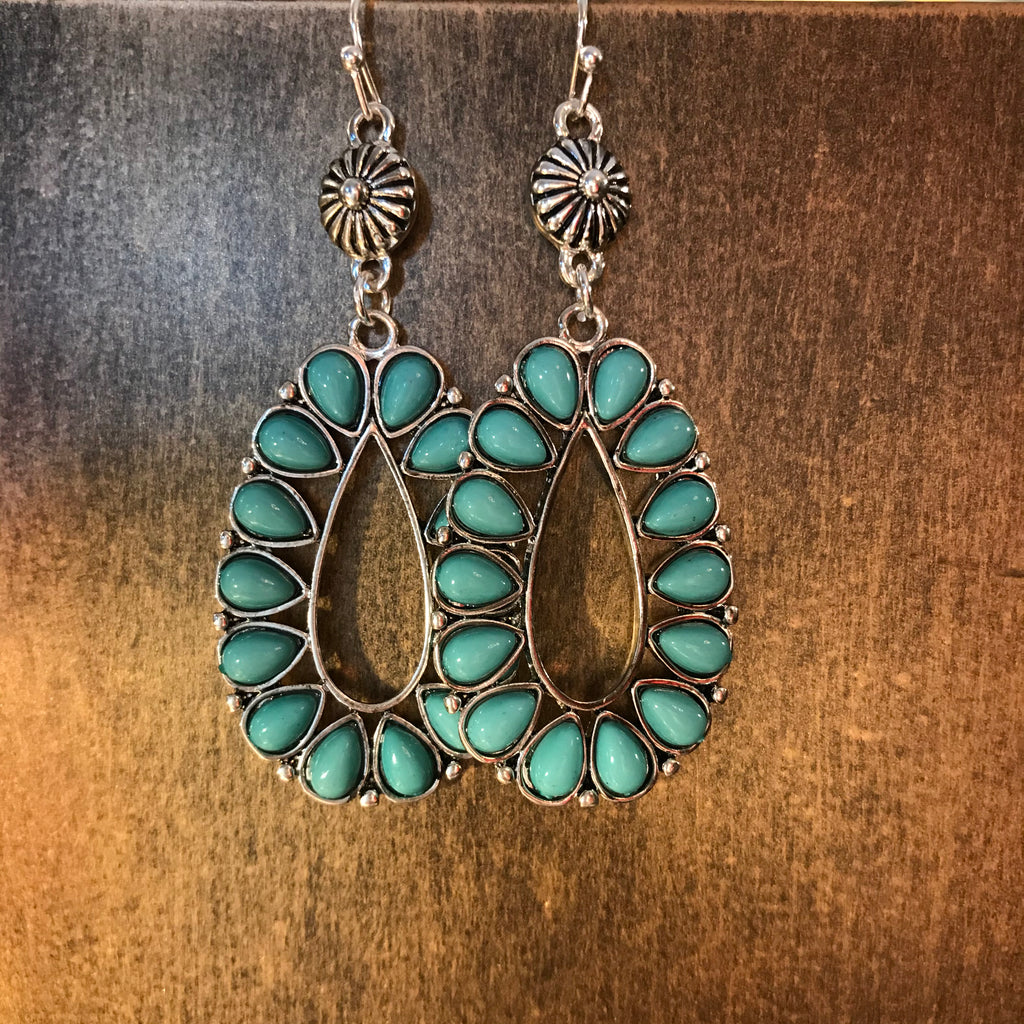 Turquoise Bohemian Blossom Oval Earrings