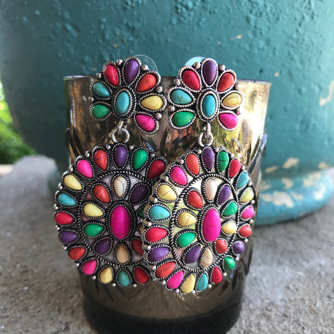 Multi-Color Bohemian Blossom Stone Post Earrings
