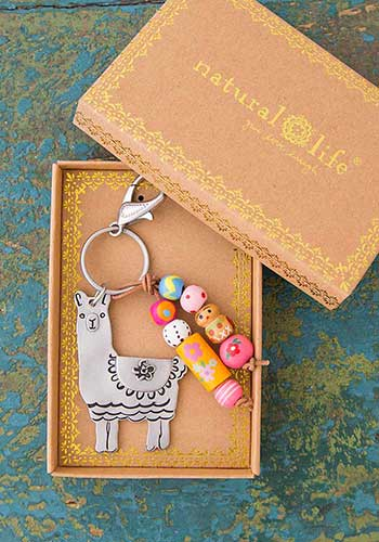 Key Chain - Llama Llive Happy w/ beads