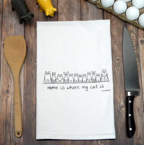 Home Is Where My Cat Is Tea Towel