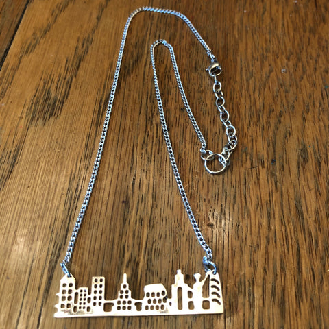 Silver Cutout New York Skyline Necklace