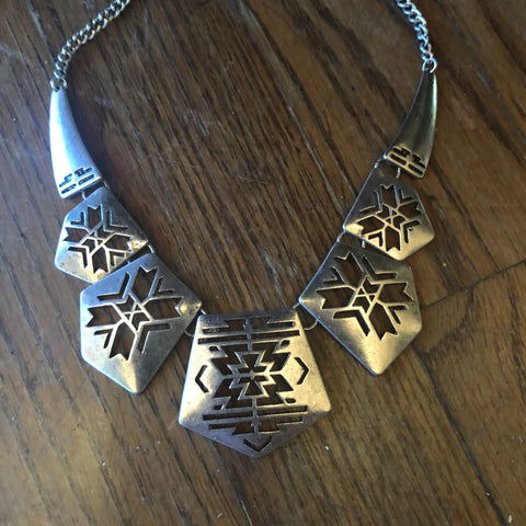 Silver Southwest Cutout Bib Necklace