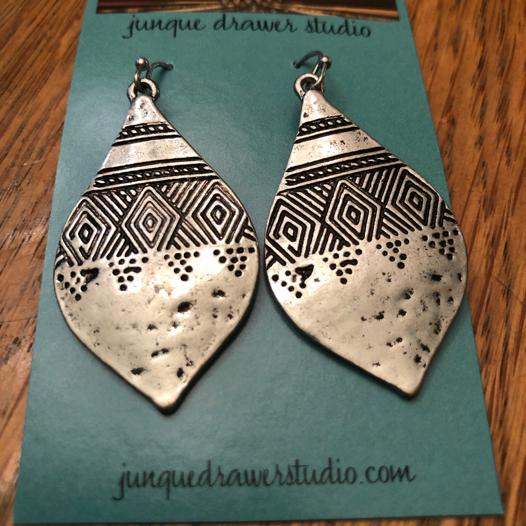 Aztec silver metal earrings
