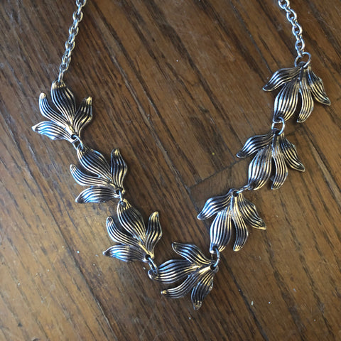 Antique Silver Large Leaf Necklace