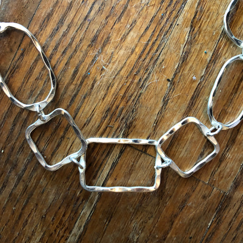 Silver Hammered Geometric Shapes Necklace