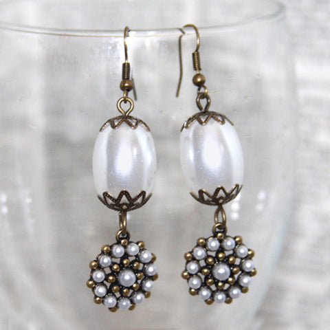 pearl bronzed bauble earrings