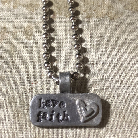 stamped pewter necklace