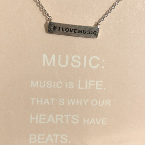 #I LOVE MUSIC bar necklace