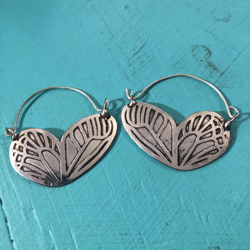 Silver Butterfly Loop Earrings