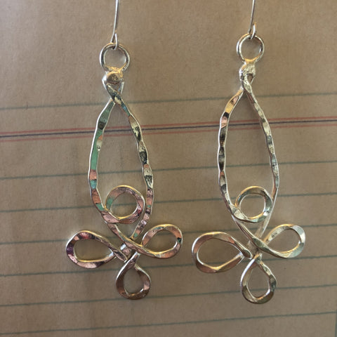 Hammered silver flower earrings
