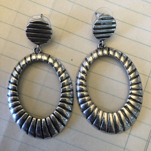 silver hoop post earrings