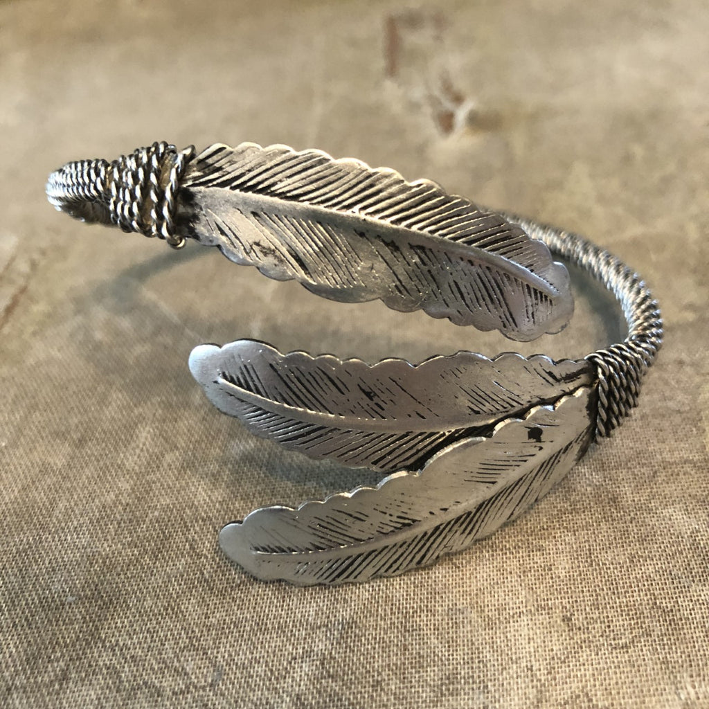 Antique Silver Three Feather Bangle Bracelet