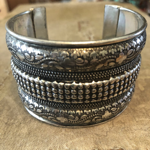 Antique Silver Thick Bangle