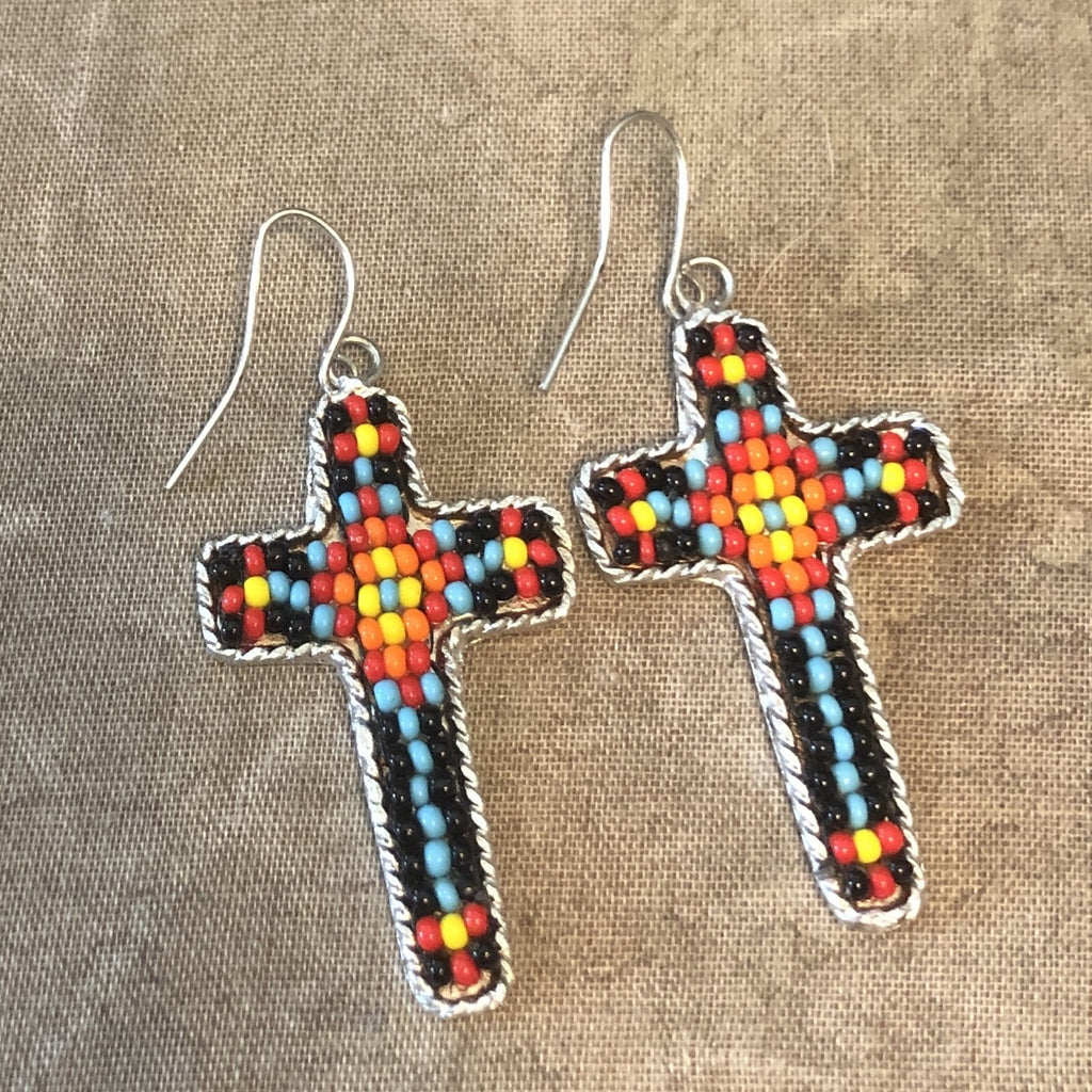 Silver Beaded Cross Earrings