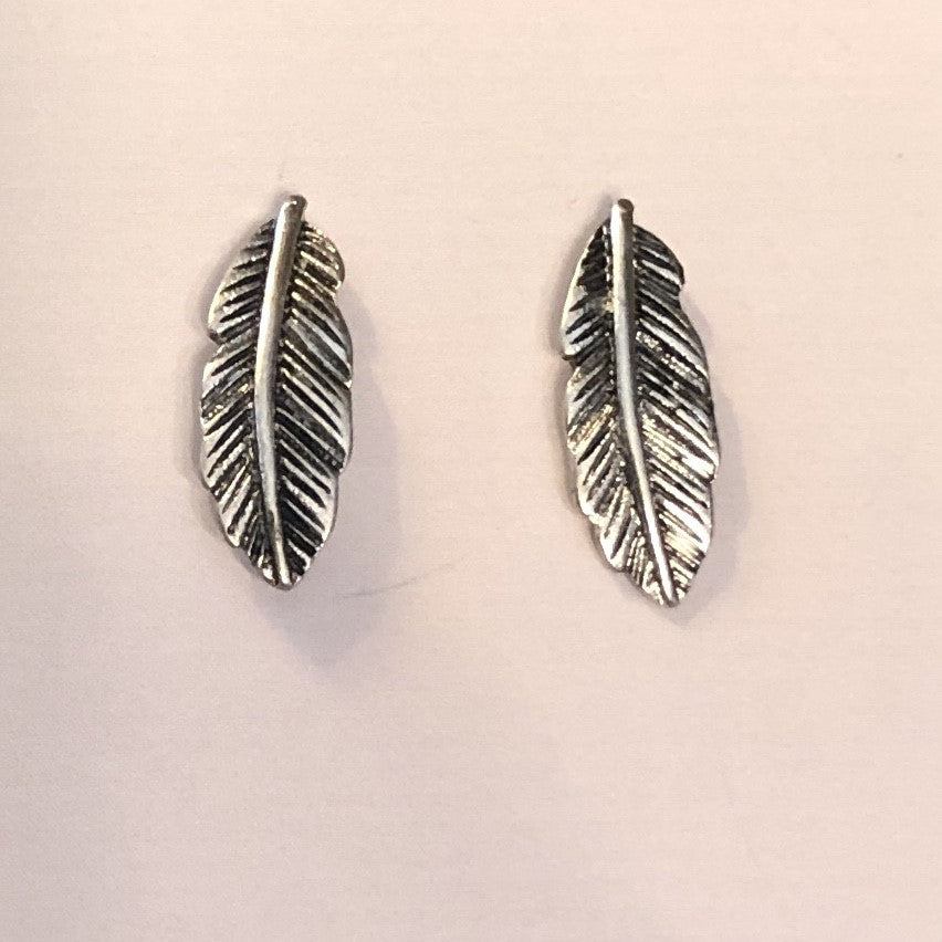 Antique Silver Feather Post Earrings