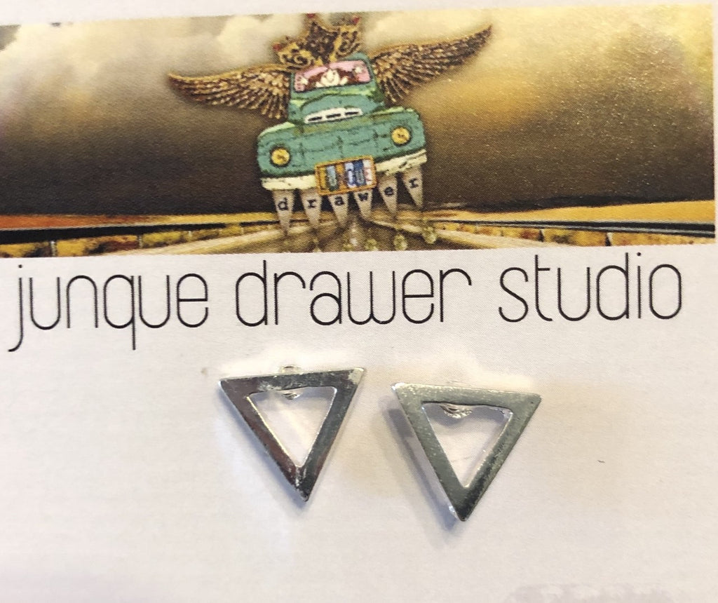 Silver Geometric Post Earrings