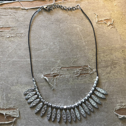 Silver Embossed Marquis Bib Necklace