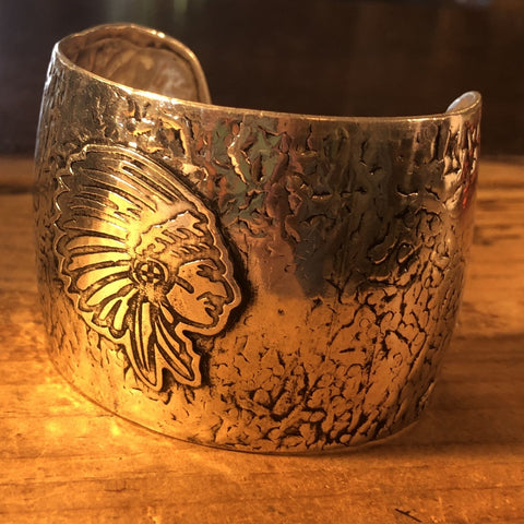Chief Antique Silver Metal Cuff Bracelet