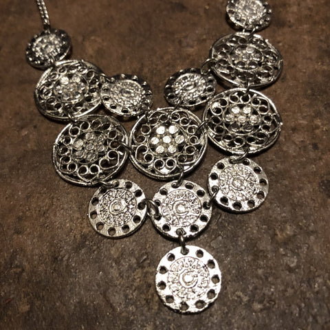Silver Cutout Circles Bib Necklace