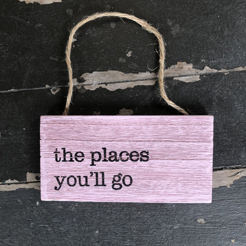 Fun small wooden hanging signs