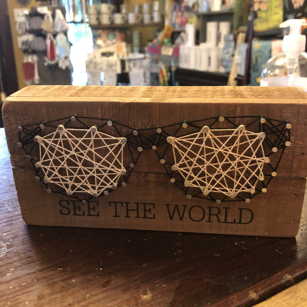 SEE THE WORLD String Art Spectacles Sign
