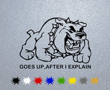 Buldog-Goes up,after I explain Sticker