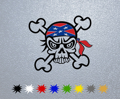Skull Confederate Flag Sticker (x1)