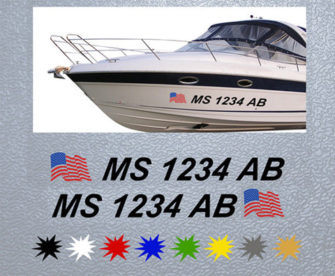 Registration Number With American Flag Sticker (Set)