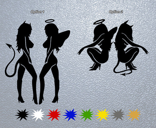 Sexy Angel and Devil Girls Sticker