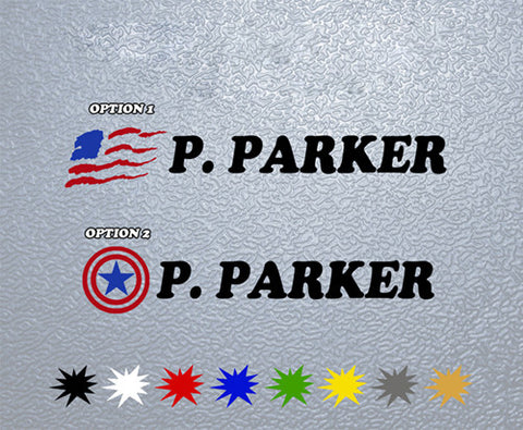 Personalized American Flag for Bike Sticker (x1)