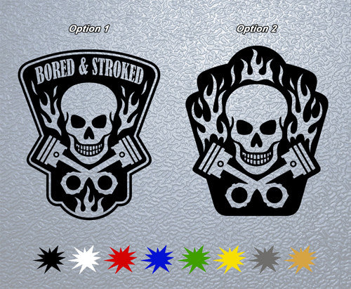 Skull and Crossed Pistons Sticker