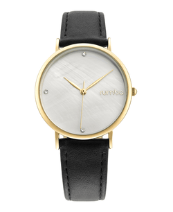 yellow gold leather watch
