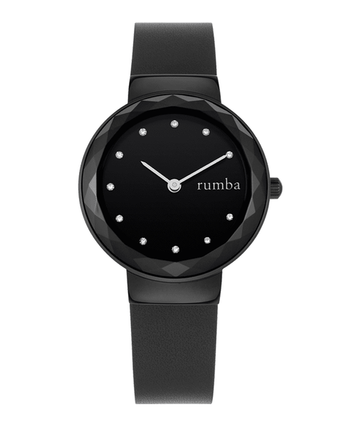 Black Leather Women's Watch
