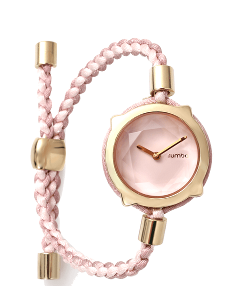 pink braided watch
