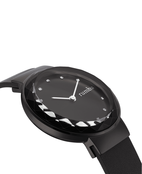 Black Stainless Steel and Leather Watch